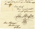Autographs:Statesmen, Samuel Houston Partial Autograph Letter Signed....