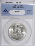 Kennedy Half Dollars, 1964-D 50C Double Die Obverse MS64 ANACS. NGC Census: (248/259).PCGS Population (284/904). Mintage: 156,205,440. Numismedia...