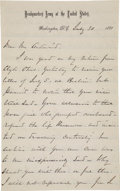 """Autographs:Military Figures, William T. Sherman Autograph Letter Signed as Commanding General ofthe United States Army """"W. T. Sherman""""...."""
