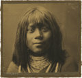 Photography:Studio Portraits, Edward S. Curtis Sepia Photograph of a Mojave Indian Youth....