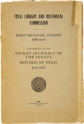 Books:Pamphlets & Tracts, Texas Library and Historical Commission. First Biennial Report1909 - 1910. Accompanied by the Secret Journals of theSenate...