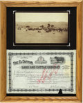 Photography:Cabinet Photos, Cattle Photograph & Stock Certificate, New Mexico Territory,ca. 1880s-1890s.... (Total: 2 Items)