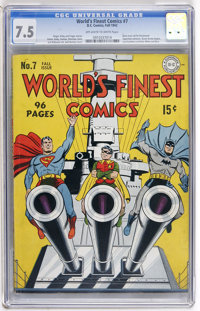 World's Finest Comics #7 (DC, 1942) CGC VF- 7.5 Off-white to white pages