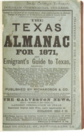 Books:Periodicals, The Texas Almanac for 1871 and Emigrant's Guide to Texas.Galveston: Richardson & Co. 1871. First edition. 8vo. 290 pp....