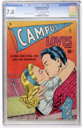 Golden Age (1938-1955):Romance, Campus Loves #1 (Quality, 1949) CGC FN/VF 7.0 Light tan tooff-white pages....