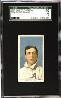 1909-11 T206 Eddie Plank SGC 40 VG 3. Like a schoolboy in fond imitation of his older brother, the T206 Plank hits all t...