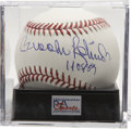 "Autographs:Baseballs, Brooks Robinson ""HOF 83"" Single Signed Baseball PSA Mint 9.Exceptional blue ink sweet spot signature rates a 9, while OML ..."