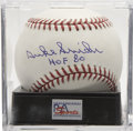 "Autographs:Baseballs, Duke Snider ""HOF 80"" Single Signed Baseball PSA Mint+ 9.5. The Dukeof Flatbush has signed the sweet spot of this OML ball,..."