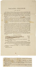 Miscellaneous:Ephemera, Salado College Notice and Graduation Program, 1862. ...