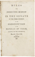 Political:Miscellaneous Political, Rules for Conducting Business in the Senate of the ThirdCongress, and the Constitution of the Republic of Texas. Adoptedby...