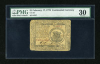Continental Currency February 17, 1776 $1 PMG Very Fine 30