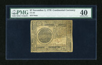 Continental Currency November 2, 1776 $7 PMG Extremely Fine 40
