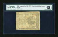 Continental Currency September 26, 1778 $20 PMG Choice Extremely Fine 45 EPQ