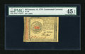 Colonial Notes:Continental Congress Issues, Continental Currency January 14, 1779 $45 PMG Choice Extremely Fine45 EPQ....