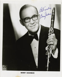 "Photograph Signed by Benny Goodman. Black and white glossy, 8 x 10"", n.p., n.d"