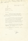 Autographs:Celebrities, Typed Letter Signed by Jimmy Cagney. One page, 4to, Beverly Hills,February 1, 1970. In a friendly letter to Ann Ford, Cagne...
