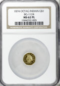 California Fractional Gold, 1874 $1 Indian Octagonal 1 Dollar, BG-1124, High R.4, MS62Prooflike NGC....