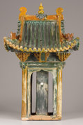 Asian:Chinese, A CHINESE SANCAI-GLAZED POTTERY TEMPLE. Ming Dynasty, 1368-1644 .26 inches (66 cm) high. ...