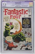 Silver Age (1956-1969):Superhero, Fantastic Four #1 (Marvel, 1961) CGC Apparent VF- 7.5 Moderate (P)Cream to off-white pages....