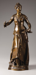 Bronze:European, EUGENE QUINTON (French, d. 1892). Melodie. Bronze. 26 inches(66.0 cm). Signed on right side of base: E. Quinton. Fo...