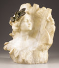 Marble:European, G. POCHINI (Italian, 19th Century). A Female in Profile. Marble and bronze. 18-3/4 x 14-1/2 inches (47.6 x 36.8 cm). Inc...