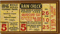 Baseball Collectibles:Tickets, 1946 World Series Game 5 Ticket Stub. In 1946 the Boston Red Soxcaptured their first AL pennant since the Curse of the Bam...