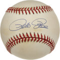Autographs:Baseballs, Pete Rose Single Signed Baseball. Here we present a lightly tonedONL (White) baseball bearing the sweet spot signature of ...