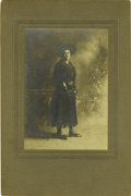 "Western Expansion:Cowboy, Cabinet Card Photograph of a Fully Dressed Armed ""Cowgirl,"" ca.1890s-1900s. ..."