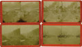 Western Expansion:Goldrush, Lot of Four Stereoviews of 800 Men in Line, Burke, Wardner, IdahoDivide, Idaho, ca. 1880s.... (Total: 4 Items)