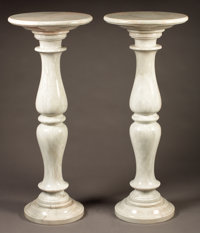 PROPERTY FROM THE JOHN L. PELLEGRINI COLLECTION  A MATCHED PAIR OF ITALIAN MARBLE PEDESTALS Late 19th-early