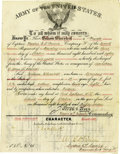 Western Expansion:Cowboy, Seattle, Washington Territory Army Discharge 1887 -...