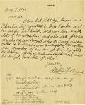 "Western Expansion:Cowboy, Autograph Letter Signed Inquiring about the Execution of Crawford""Cherokee Bill"" Goldsby, 1900...."