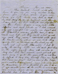 "Western Expansion:Cowboy, Autograph Letter regarding ""Man Hung Two Men Murdered,"" JeffersonTerritory, Denver, 1860...."