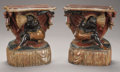 Furniture : Continental, A PAIR OF VENETIAN POLYCHROME WOOD FIGURAL CONSOLE TABLES. 19thCentury. 25 x 22 x 11-1/2 inches (63.5 x 55.9 x 29.2 cm) eac...(Total: 2 Items)