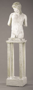 Decorative Arts, Continental:Other , A PLASTER FIGURE OF A GREEK YOUTH. 36 inches (91.4 cm) high. ...