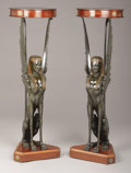 Furniture : French, A PAIR OF EMPIRE-STYLE ROSEWOOD AND EBONIZED WOOD FIGURAL TORCHÈRES. Early 20th Century. 52 x 16-1/4 inches (132.1 x... (Total: 2 Items)