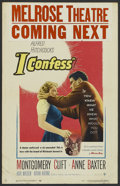 """Movie Posters:Hitchcock, I Confess (Warner Brothers, 1953). Window Card (14"""" X 22""""). Hitchcock...."""