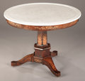 Furniture : French, A CHARLES X MARBLE TOP AND MARQUETRY INLAID CENTER TABLE . Early toMid 19th Century. 29-1/2 x 39-1/2 inches (74.9 x 100.3 c...