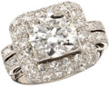 Estate Jewelry:Rings, Art Deco Diamond, Platinum Ring. The ring centers a roundbrilliant-cut diamond measuring 8.20 x 4.30 mm and weighing appr...