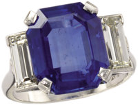 Burmese Sapphire, Diamond, Platinum Ring  The ring centers one octagonal step-cut sapphire measuring 13.86 x 11.40 x 6.8...