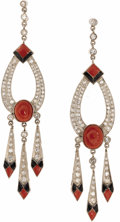 Estate Jewelry:Earrings, Diamond, Coral, Enamel, Platinum Earrings. Each dangling earringfeatures an oval-shaped coral cabochon, enhanced by singl...