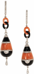 Estate Jewelry:Earrings, Coral, Black Onyx, Diamond, White Gold Earrings. Each danglingearring features carved coral and black onyx segments, enha...