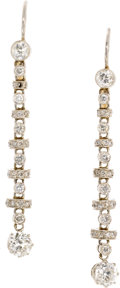 Estate Jewelry:Earrings, Diamond, Platinum, Earrings. Each dangling chain link earringfeatures European and full-cut diamonds weighing a total of ...