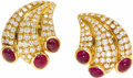 Estate Jewelry:Earrings, Diamond, Ruby, Gold Earrings. Each fan-shaped earring featuresfull-cut diamonds weighing a total of approximately 1.50 ca...