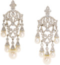 Estate Jewelry:Earrings, Diamond, Cultured Pearl, Platinum Earrings. Each chandelier earringfeatures full-cut diamonds, suspending graduated cultu...