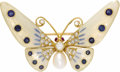 Estate Jewelry:Brooches - Pins, Diamond, Sapphire, Freshwater Cultured Pearl, Ruby, Gold Brooch.The brooch, designed as a butterfly, features full and si...