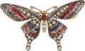 Estate Jewelry:Brooches - Pins, Diamond, Ruby, Sapphire, Silver-Topped Gold Brooch. The brooch,designed as a butterfly, features an oval-shaped ruby, enh...