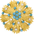 Estate Jewelry:Brooches - Pins, Turquoise, Diamond, Gold Clip-Brooch. The brooch features turquoisecabochons, enhanced by full-cut diamonds weighing a to...