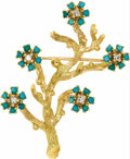 Estate Jewelry:Brooches - Pins, Diamond, Turquoise, Gold Brooch. The brooch, designed as a branch, features full-cut diamonds weighing a total of approxim...