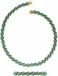 Estate Jewelry:Lots, Turquoise, Gold Jewelry Suite, Tiffany & Co.. The suite includes: one necklace, featuring turquoise beads measuring approx...